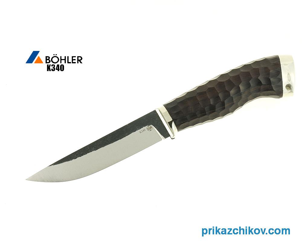 Нож Практичный из кованой стали Bohler K340 (рукоять граб, литье мельхиор) N13
