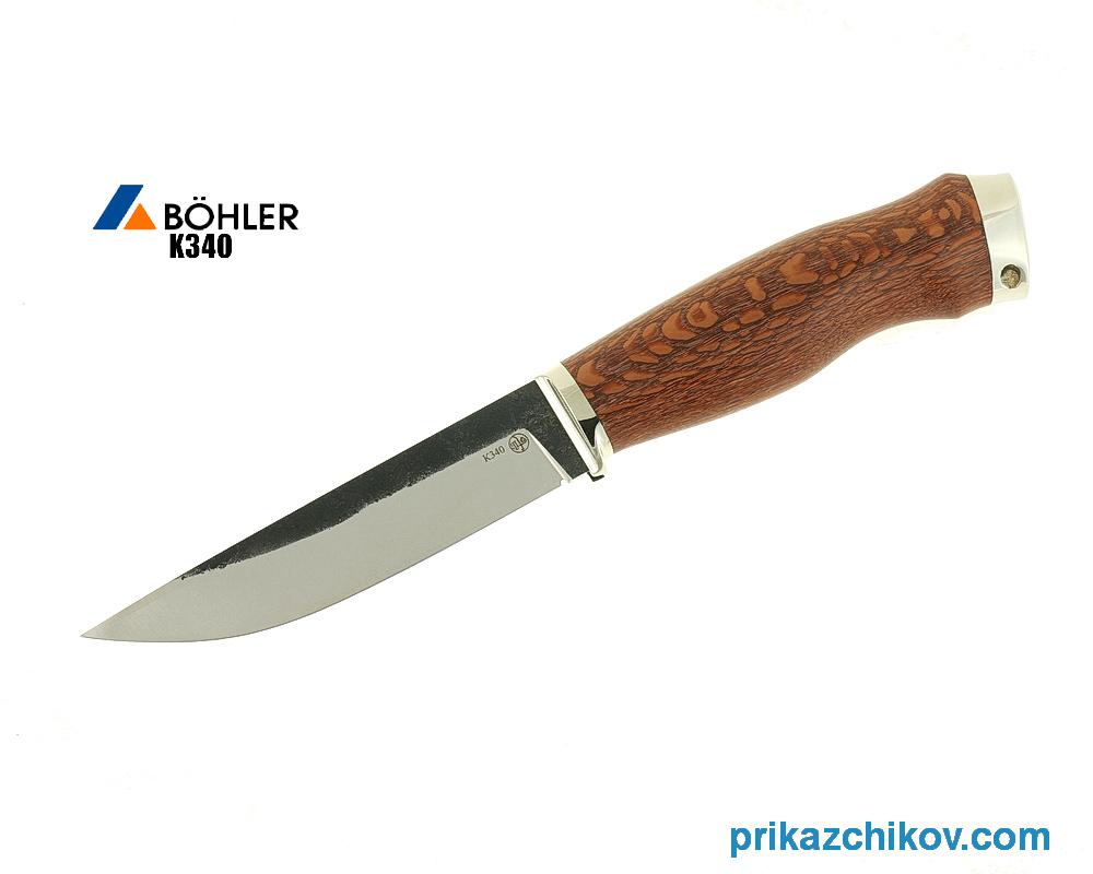 Нож Практичный из кованой стали Bohler K340 (рукоять лайсвуд, литье мельхиор) N14