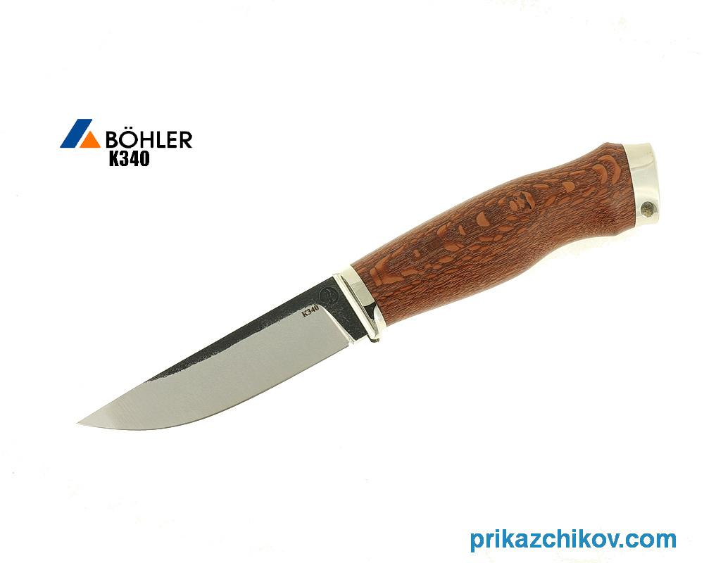 Нож Практичный из кованой стали Bohler K340 (рукоять лайсвуд, литье мельхиор) N15