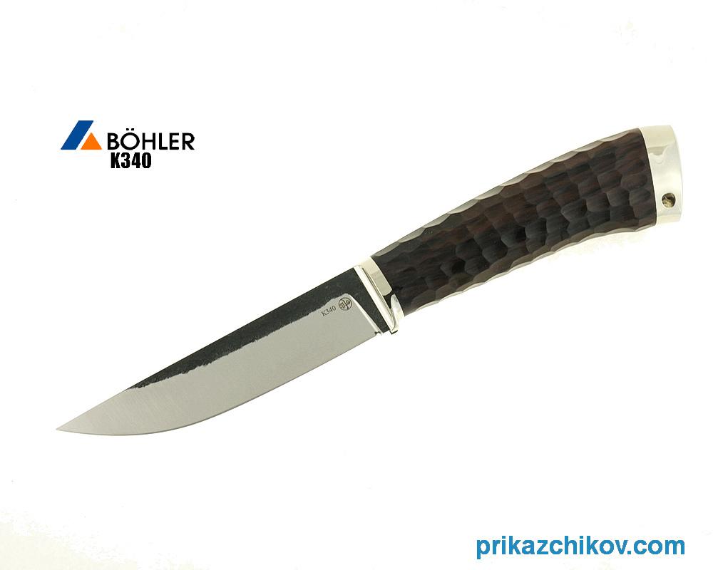 Нож Рабочий из кованой стали Bohler K340 (рукоять граб, литье мельхиор) N16