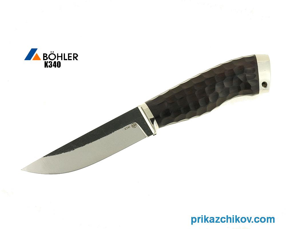 Нож Рабочий из кованой стали Bohler K340 (рукоять граб, литье мельхиор) N17