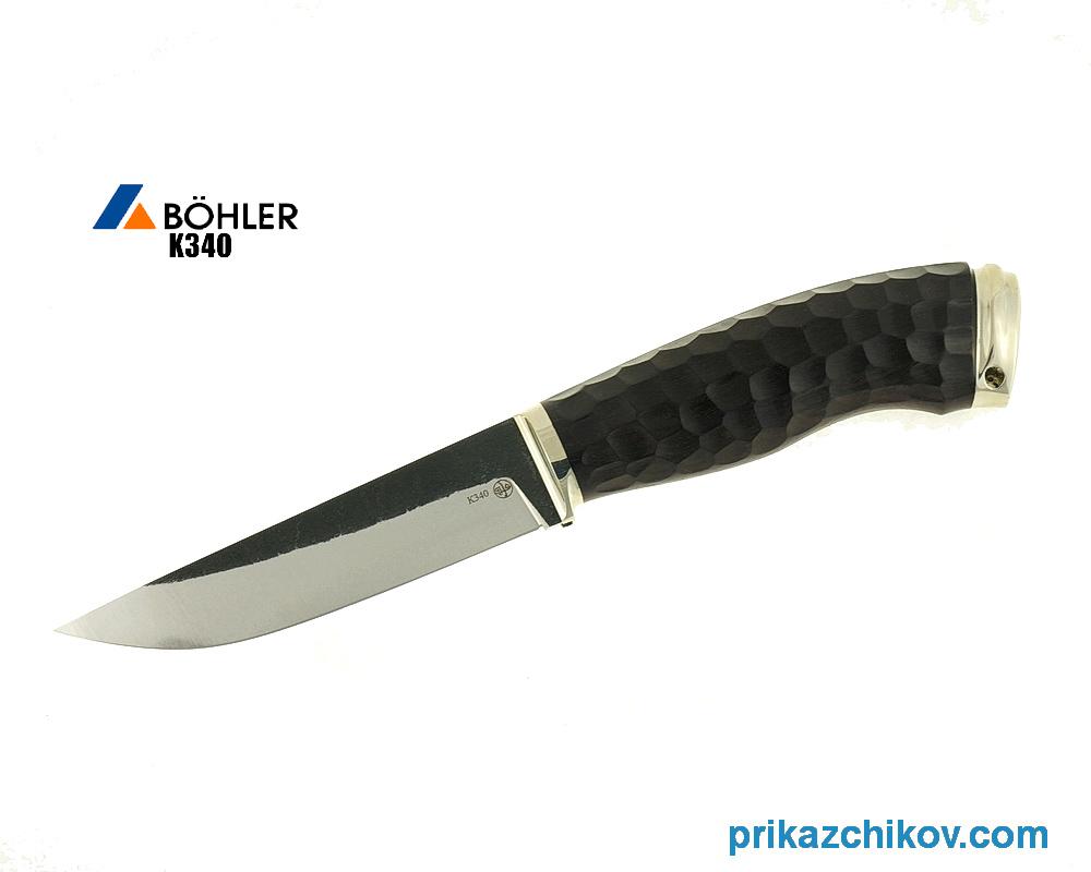 Нож Рабочий из кованой стали Bohler K340 (рукоять граб, литье мельхиор) N24