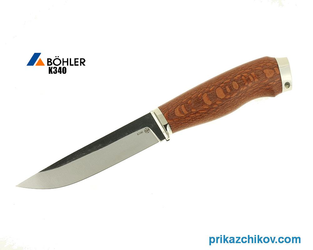 Нож Рабочий из кованой стали Bohler K340 (рукоять лайсвуд, литье мельхиор) N25