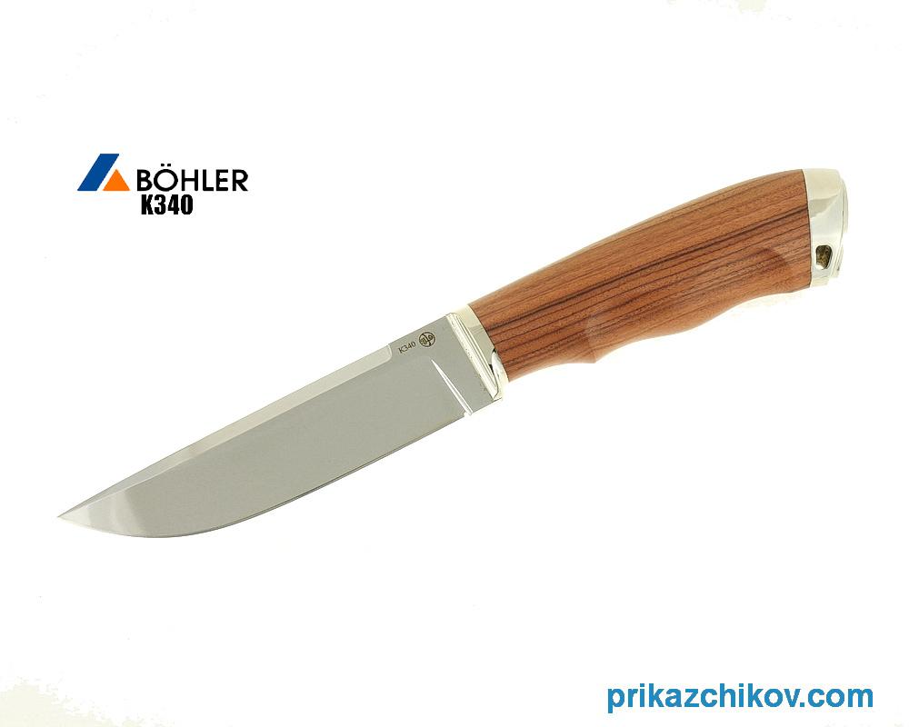 Нож Рабочий из кованой стали Bohler K340 (рукоять палисандр-сантос, литье мельхиор) N27
