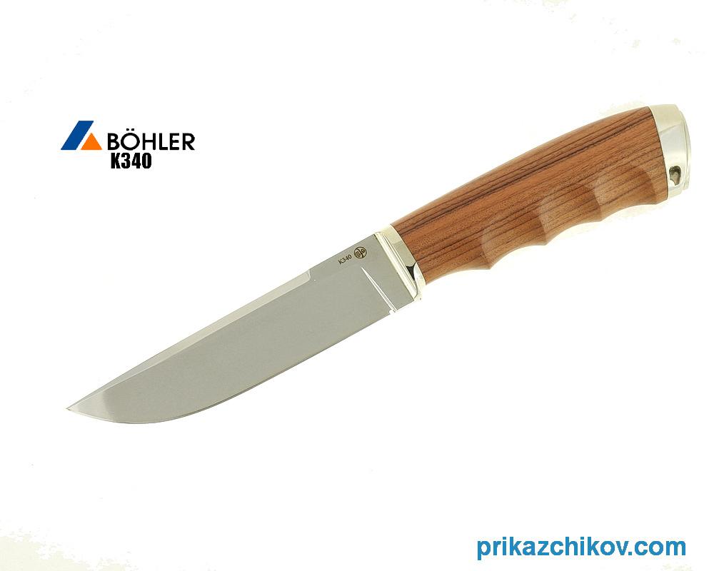 Нож Рабочий из кованой стали Bohler K340 (рукоять палисандр-сантос, литье мельхиор) N29