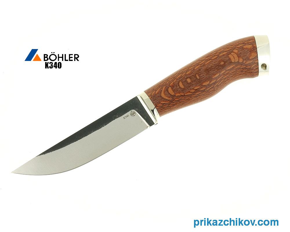 Нож Рабочий из кованой стали Bohler K340 (рукоять лайсвуд, литье мельхиор) N3