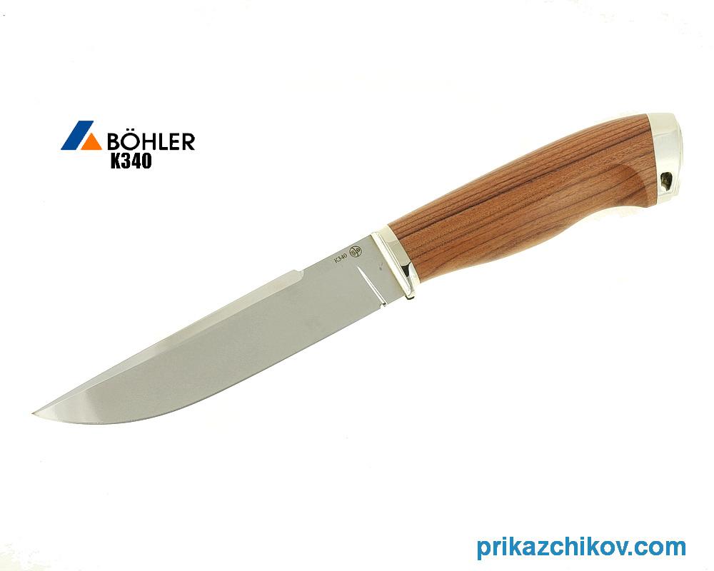 Нож Охотничий из кованой стали Bohler K340 (рукоять палисандр-сантос, литье мельхиор) N30