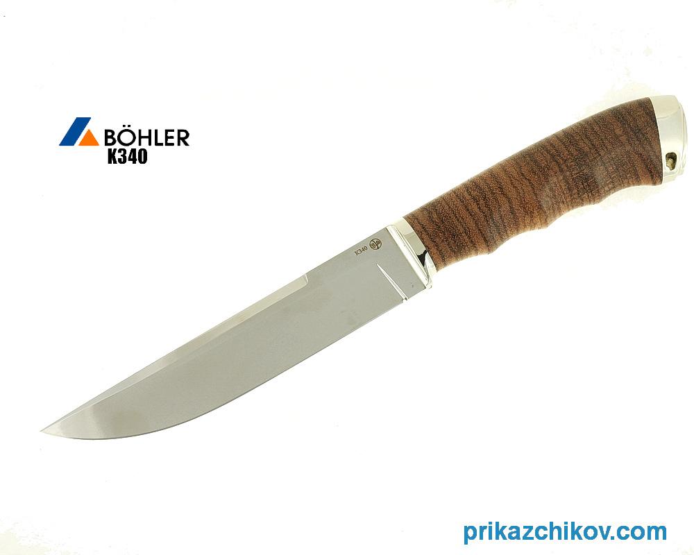 Нож Охотничий из кованой стали Bohler K340 (рукоять зебрано, литье мельхиор) N31