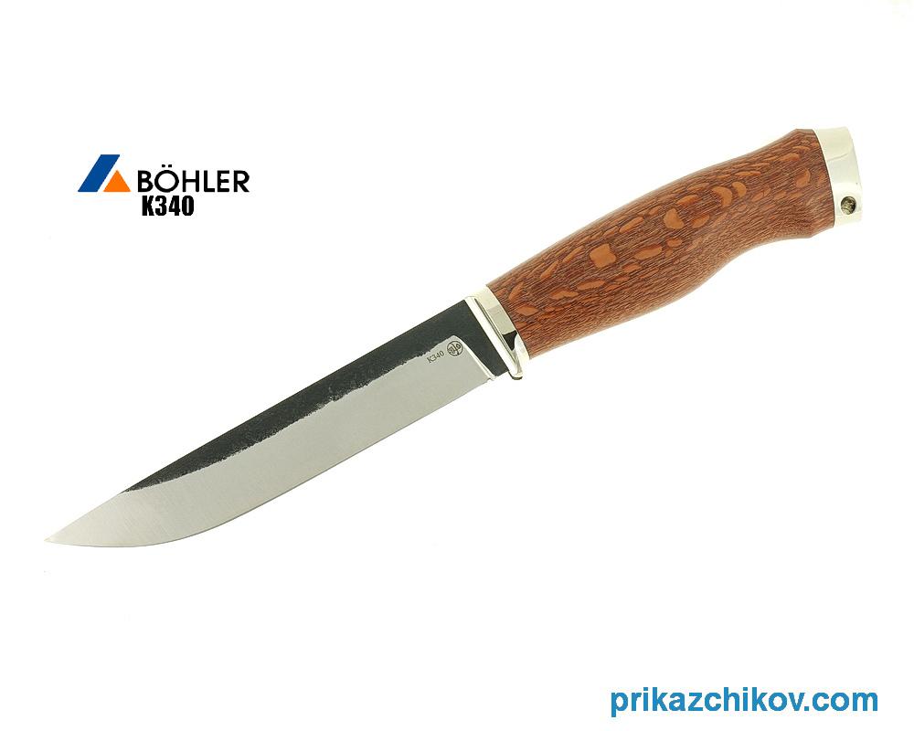 Нож Рабочий из кованой стали Bohler K340 (рукоять лайсвуд, литье мельхиор) N4