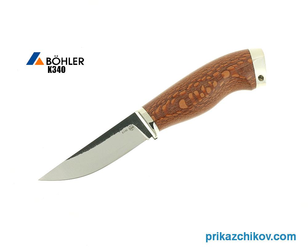 Нож Разделочный из кованой стали Bohler K340 (рукоять лайсвуд, литье мельхиор) N7