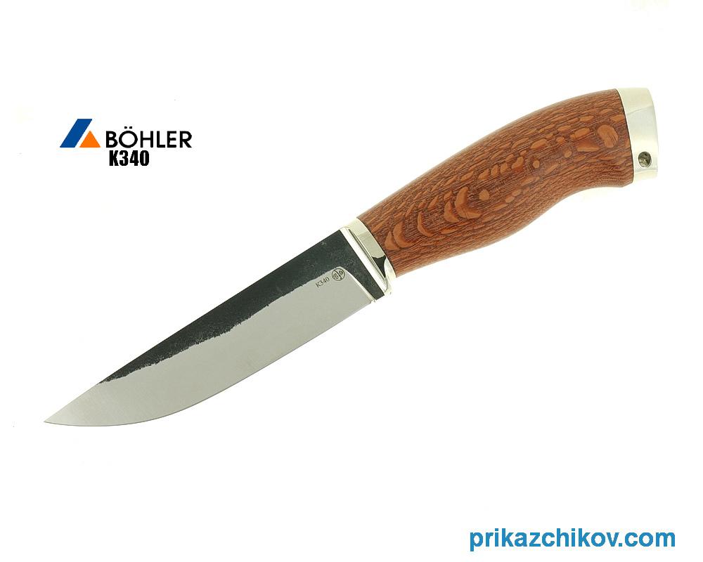 Нож Рабочий из кованой стали Bohler K340 (рукоять лайсвуд, литье мельхиор) N8