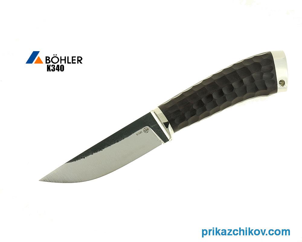 Нож Разделочный из кованой стали Bohler K340 (рукоять граб, литье мельхиор) N9