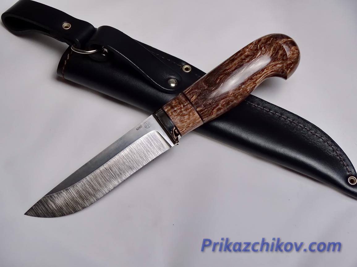 Нож  из порошковой стали Bohler K390(рукоять стабилизированная карельская береза, литье мельхиор) N 14