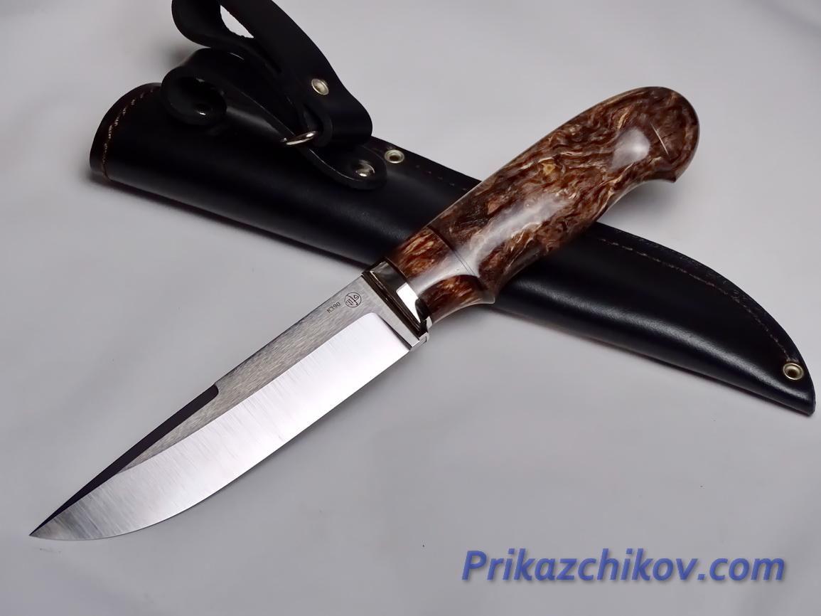 Нож  из порошковой стали Bohler K390(рукоять стабилизированная карельская береза, литье мельхиор) N 18