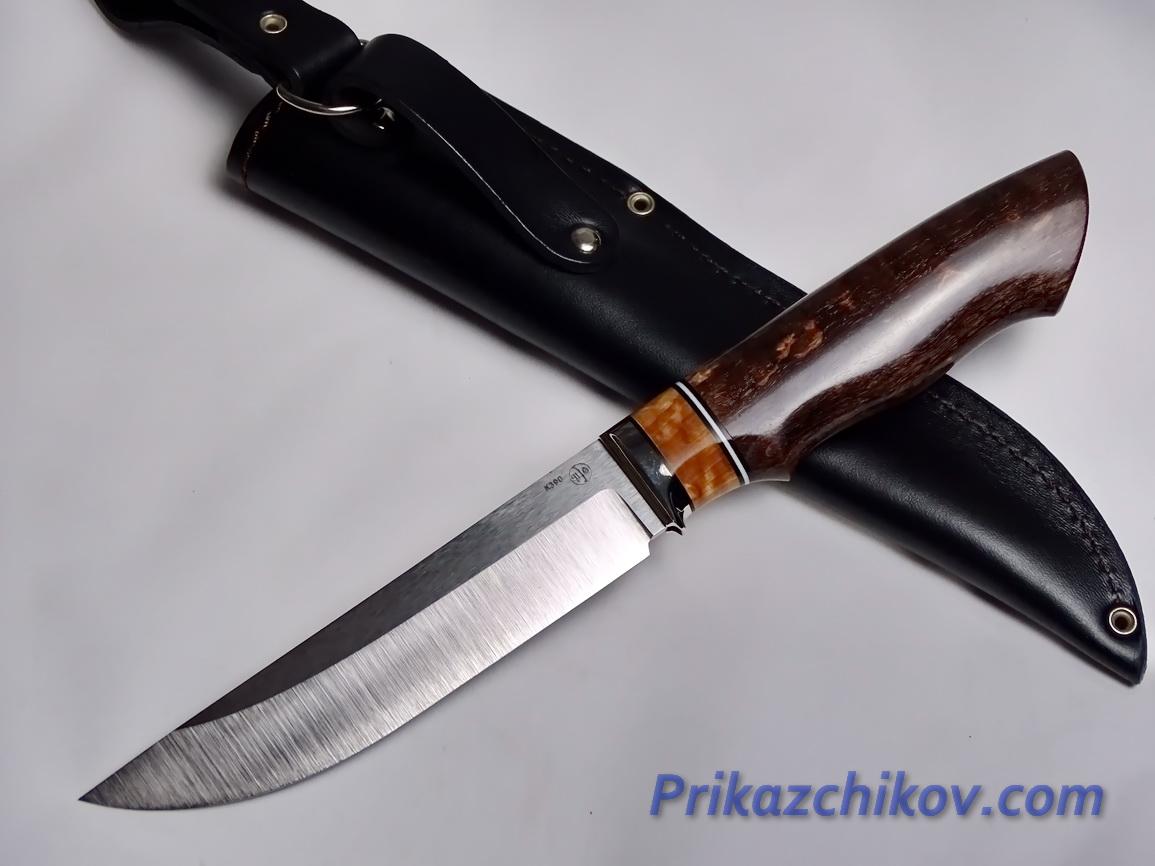 Нож  из порошковой стали Bohler K390(рукоять стабилизированная карельская береза, литье мельхиор) N 2