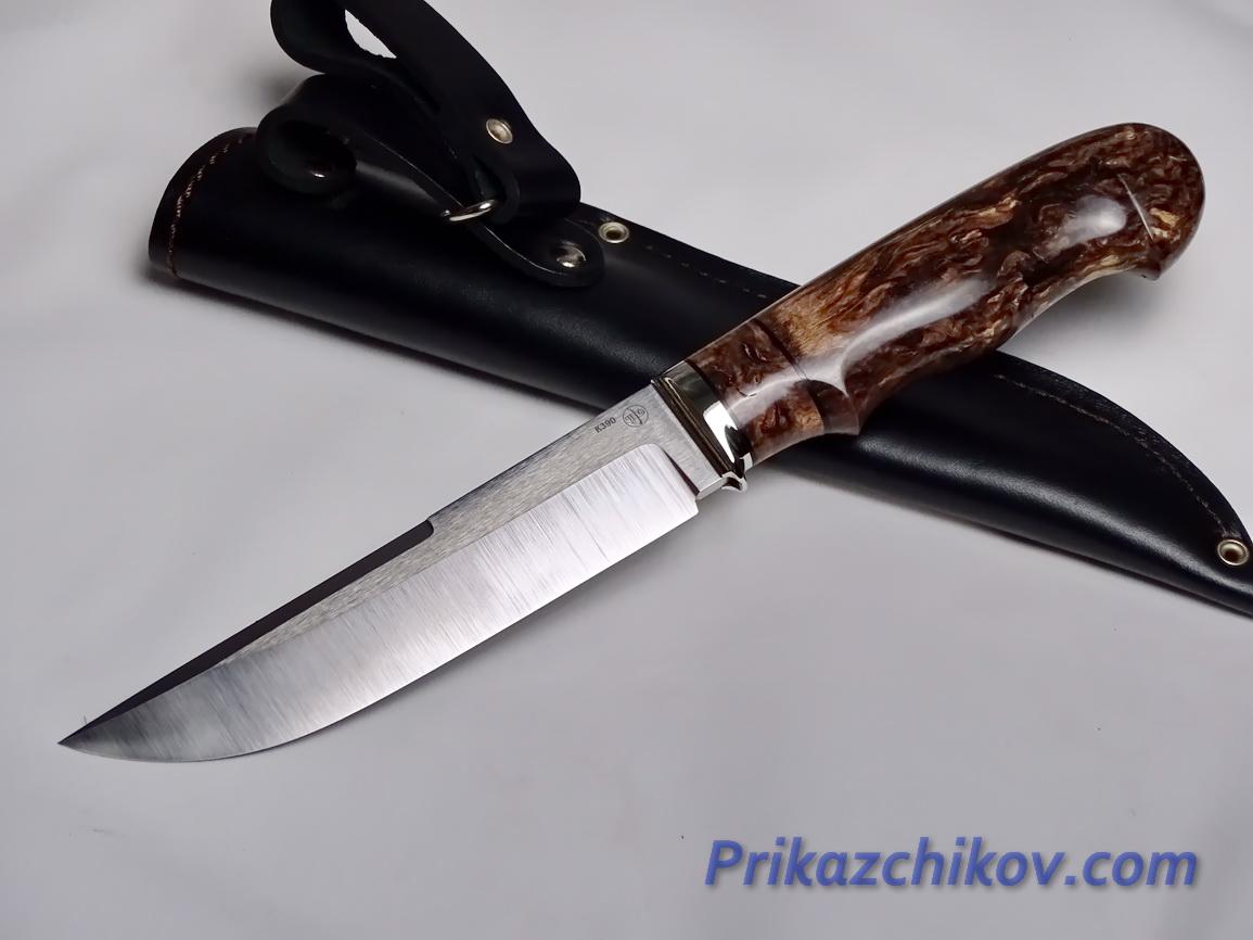 Нож  из порошковой стали Bohler K390(рукоять стабилизированная карельская береза, литье мельхиор) N 21