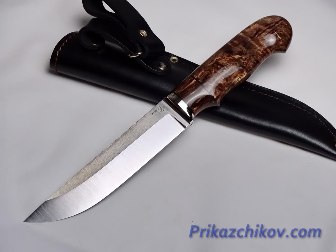 Нож  из порошковой стали Bohler K390(рукоять стабилизированная карельская береза, литье мельхиор) N 23