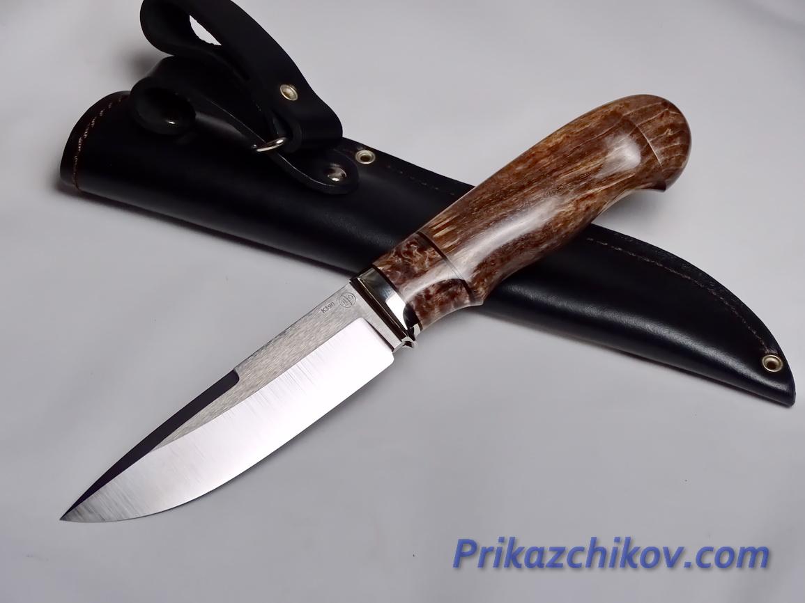 Нож  из порошковой стали Bohler K390(рукоять стабилизированная карельская береза, литье мельхиор) N 24