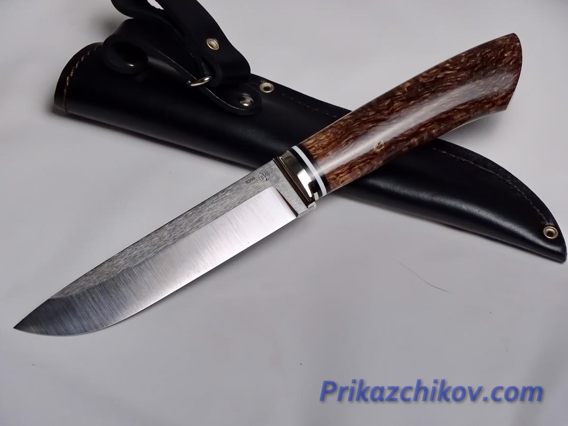 Нож  из порошковой стали Bohler K390(рукоять стабилизированная карельская береза, литье мельхиор) N 26