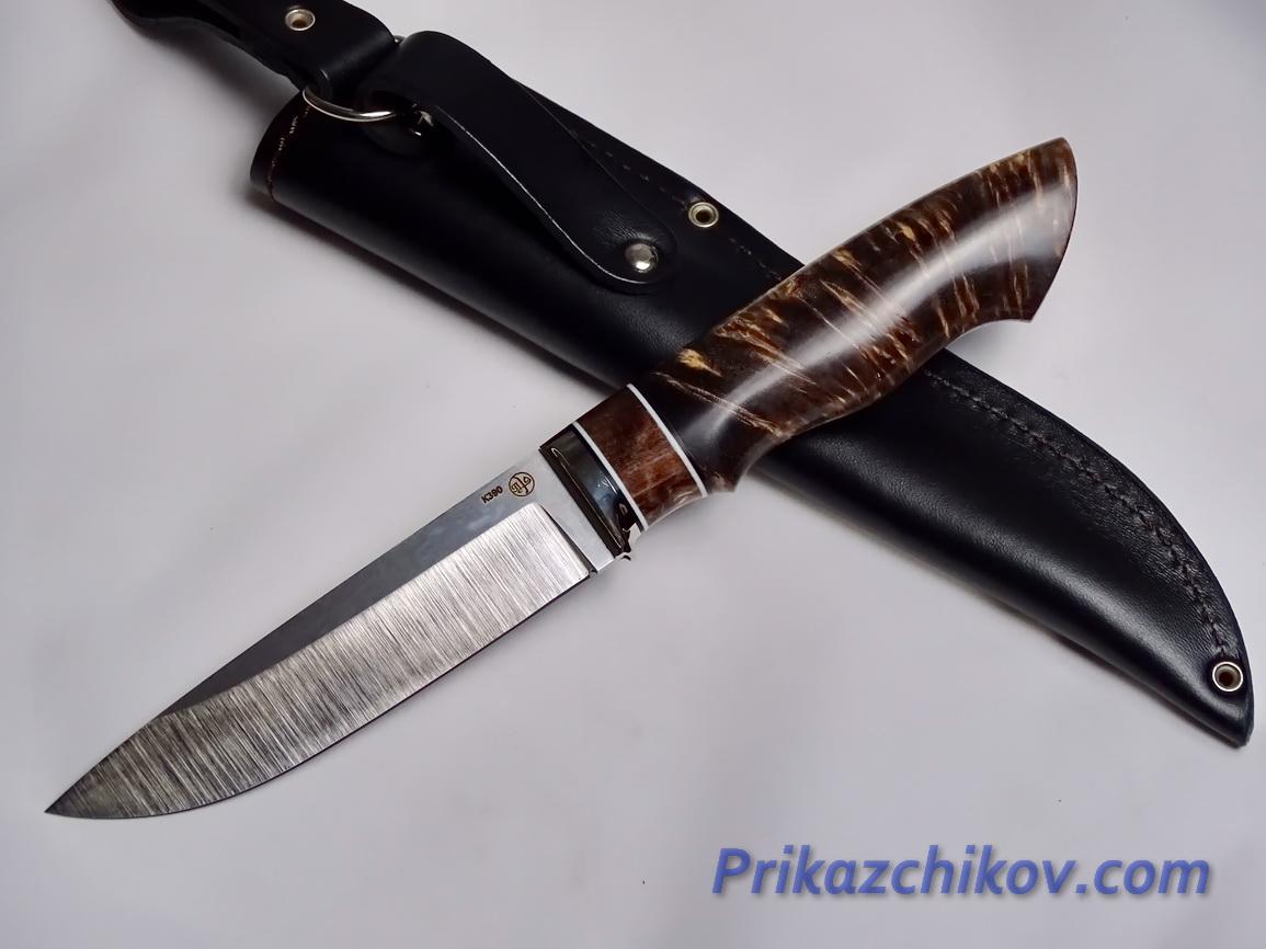 Нож  из порошковой стали Bohler K390(рукоять стабилизированная карельская береза, литье мельхиор) N 3