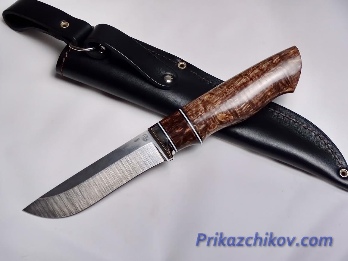 Нож  из порошковой стали Bohler K390(рукоять стабилизированная карельская береза, литье мельхиор) N 6