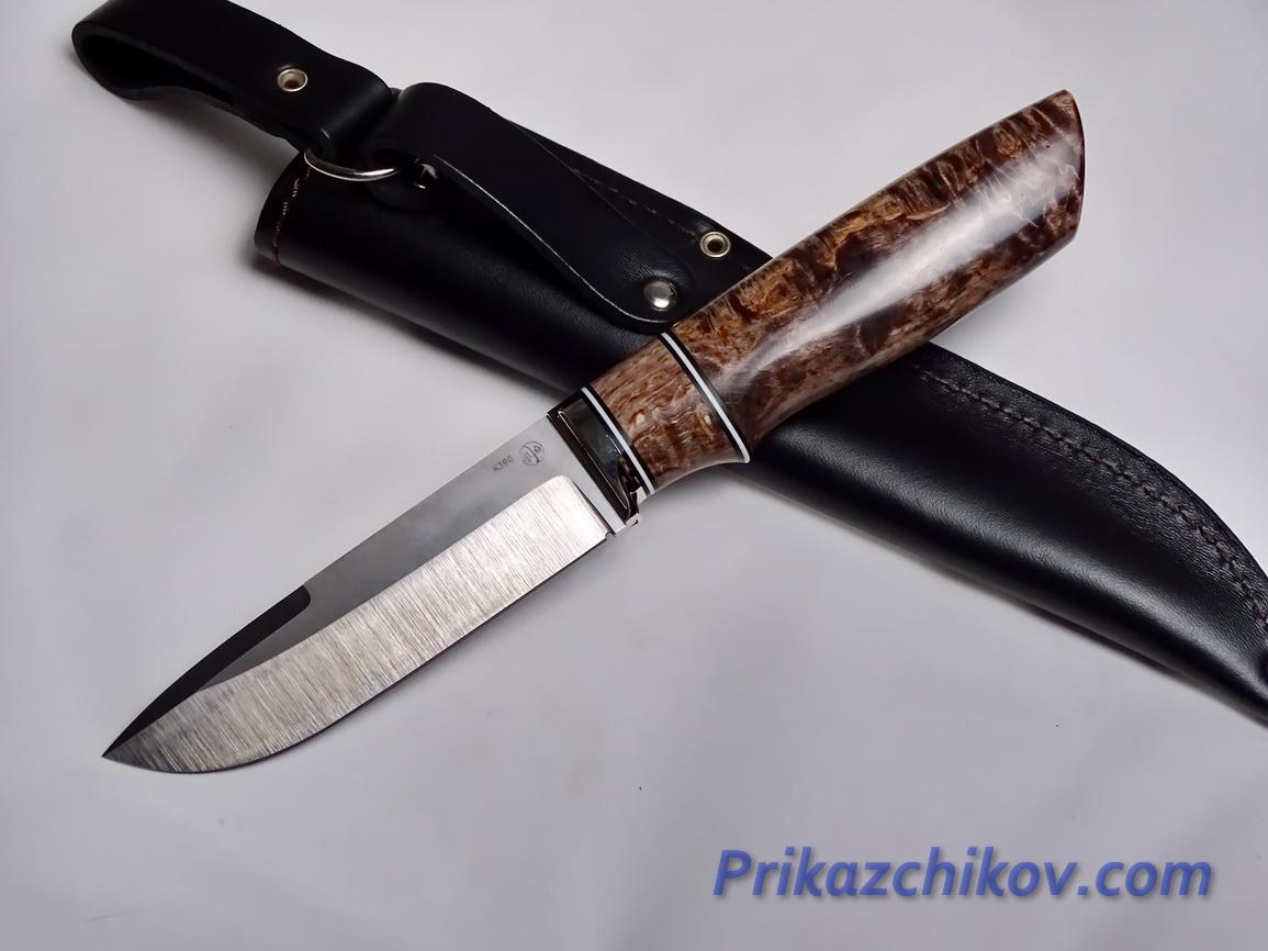 Нож  из порошковой стали Bohler K390(рукоять стабилизированная карельская береза, литье мельхиор) N 8