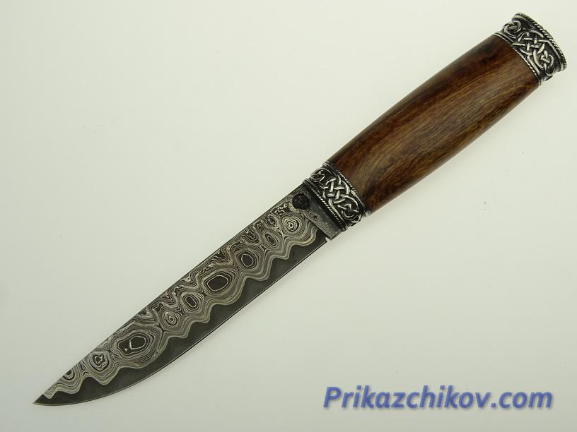 Нож из ламинированной стали  V 20 (рукоять из айронвуд (IRONWOOD), литьё мельхиор)