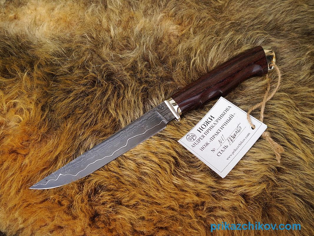 Нож из ламинированной стали Практичный (рукоять палисандр индонезийский, литье мельхиор) N11