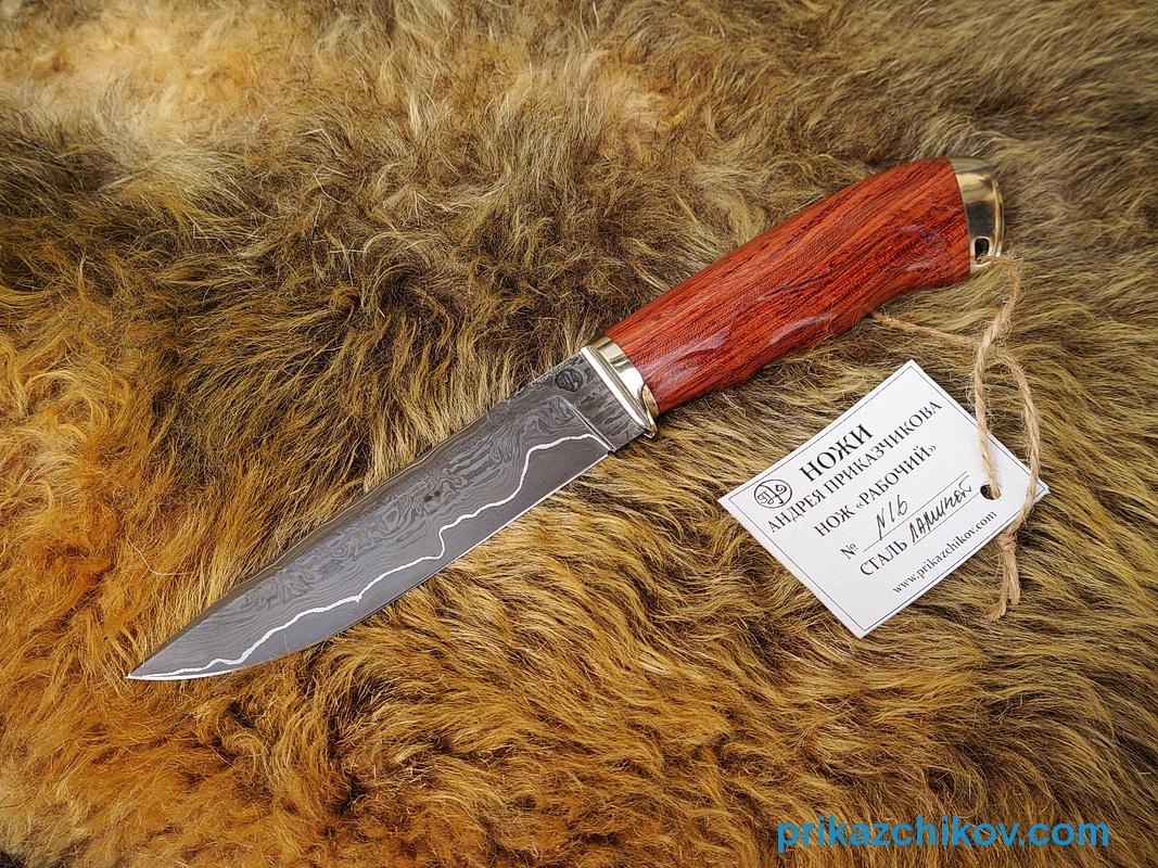 Нож из ламинированной стали Рабочий (рукоять бубинга, литье мельхиор) N16