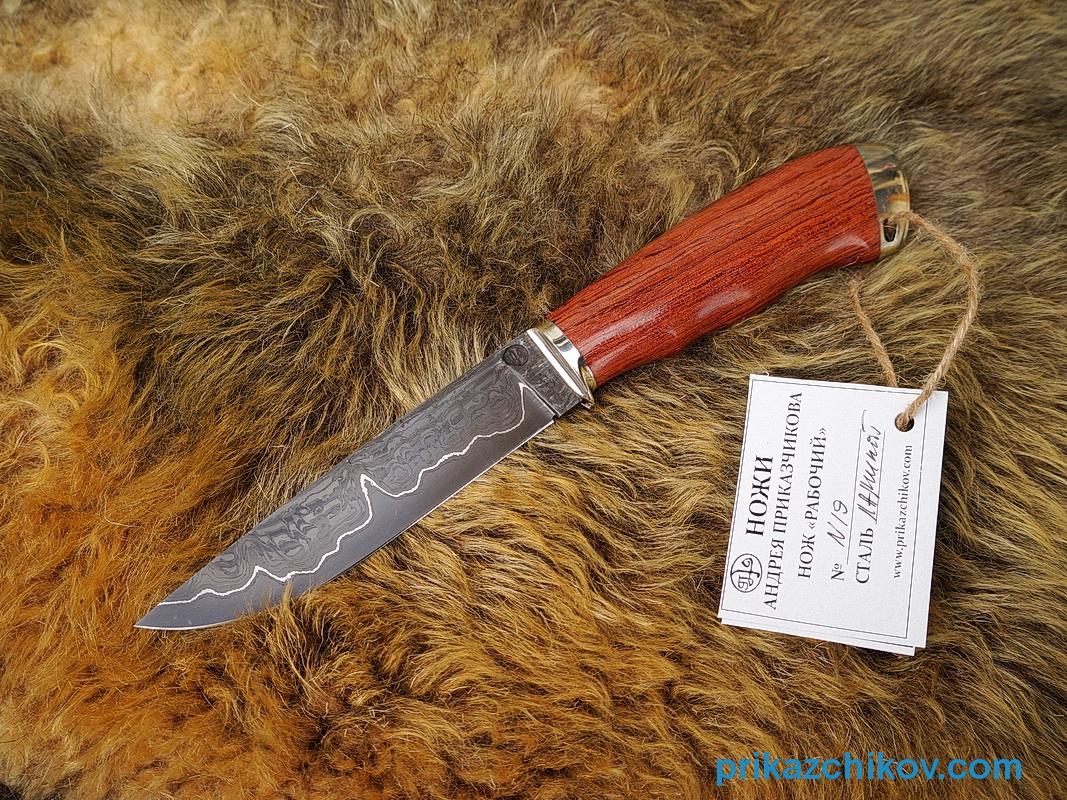 Нож из ламинированной стали Рабочий (рукоять бубинга, литье мельхиор) N19