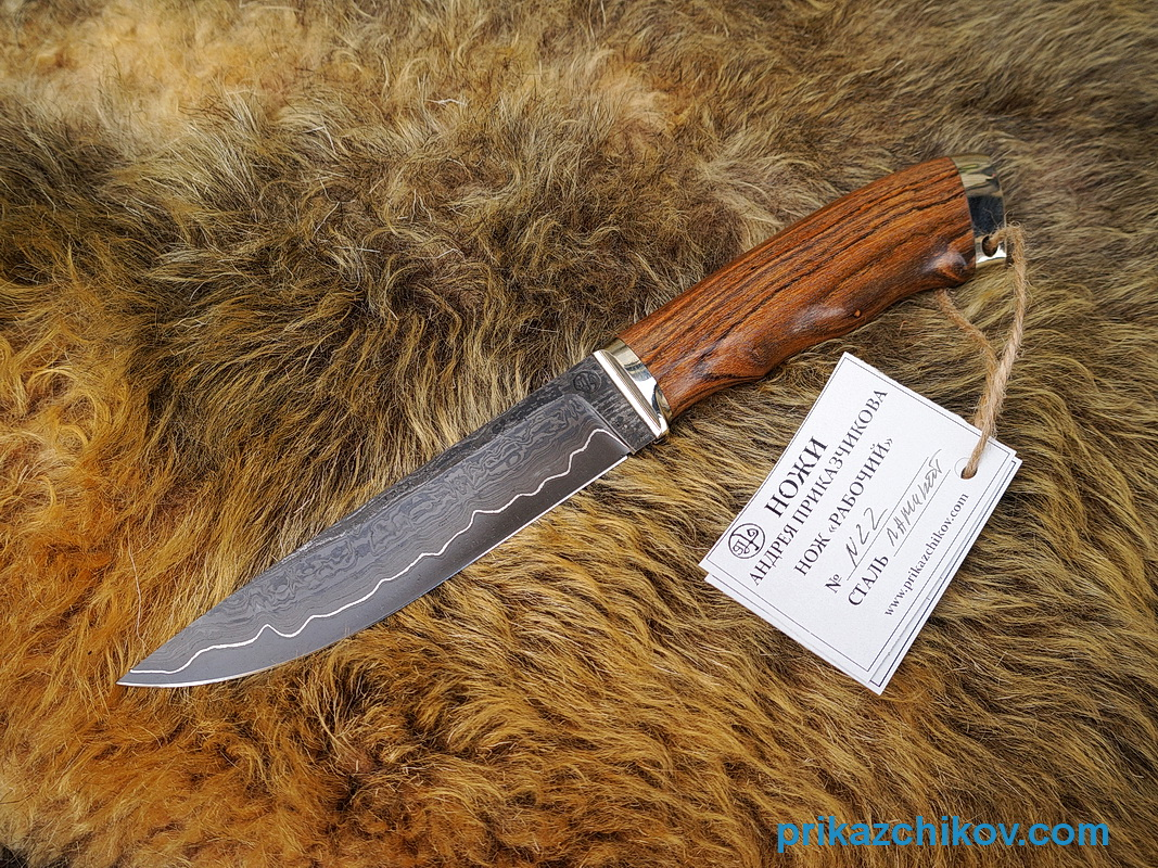 Нож из ламинированной стали Рабочий (рукоять бокоте, литье мельхиор) N22