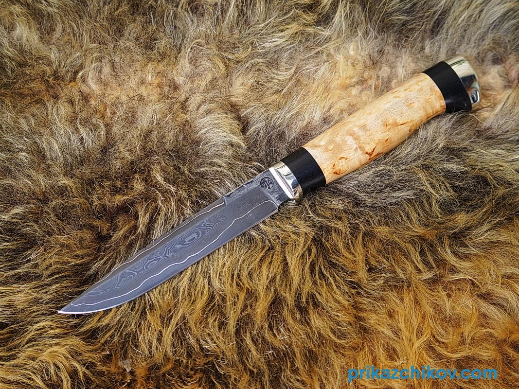 Нож из ламинированной стали Практичный (рукоять карельская береза и черный граб, литье мельхиор) N45