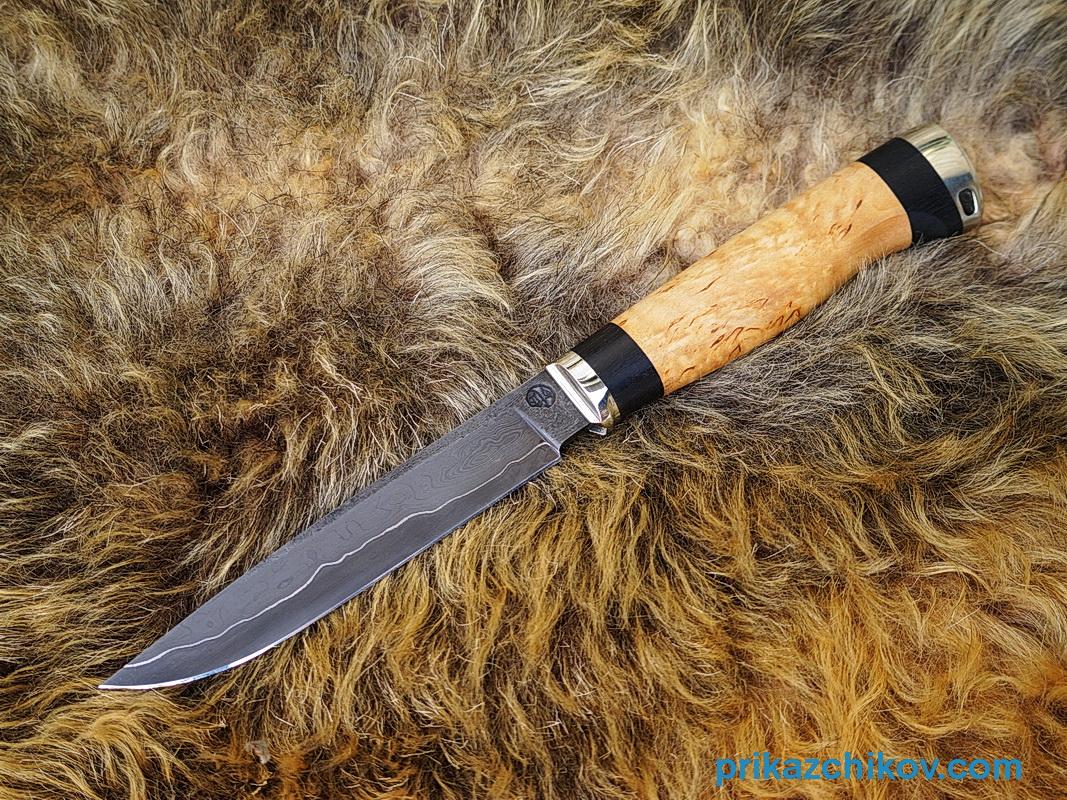 Нож из ламинированной стали Практичный (рукоять карельская береза и черный граб, литье мельхиор) N46