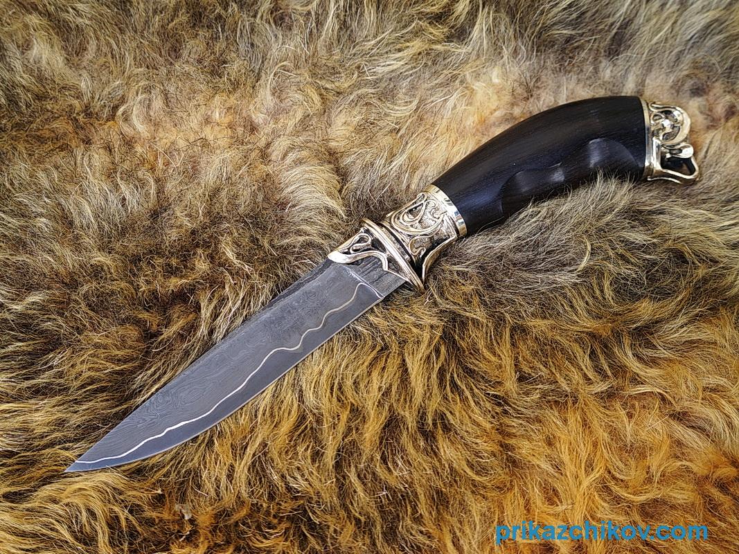 Нож из ламинированной стали Андрей Первозванный (рукоять граб, литье мельхиор) N51