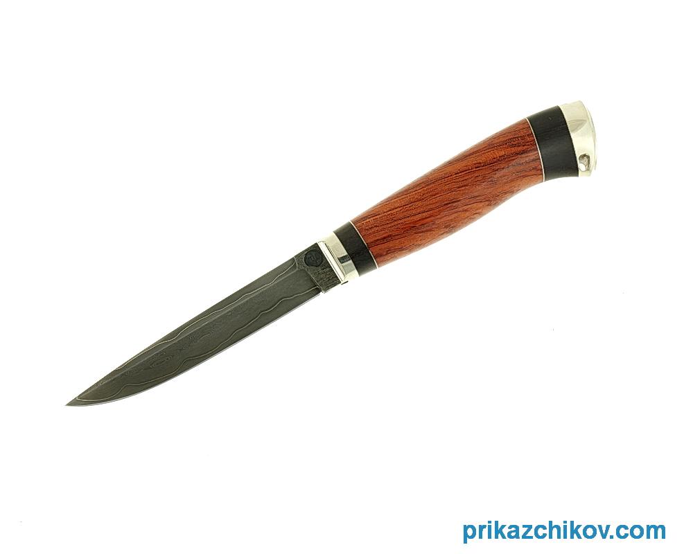 Нож из ламинированной стали Практичный (рукоять бубинга и черный граб, литье мельхиор) N61