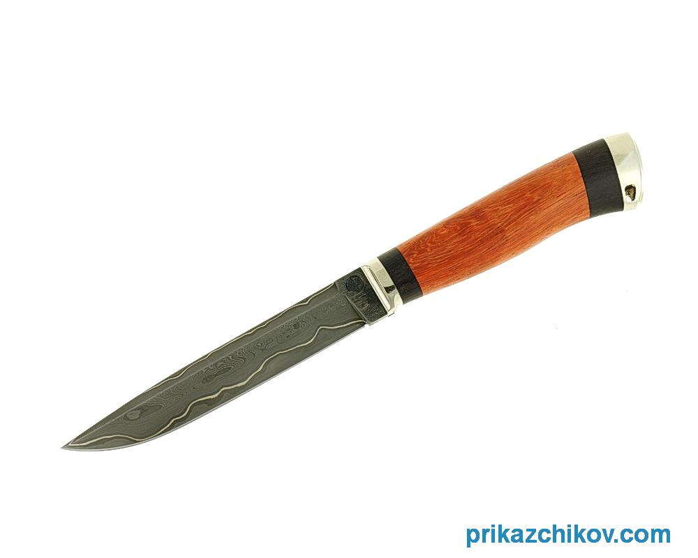 Нож из ламинированной стали Практичный (рукоять падук и черный граб, литье мельхиор) N65
