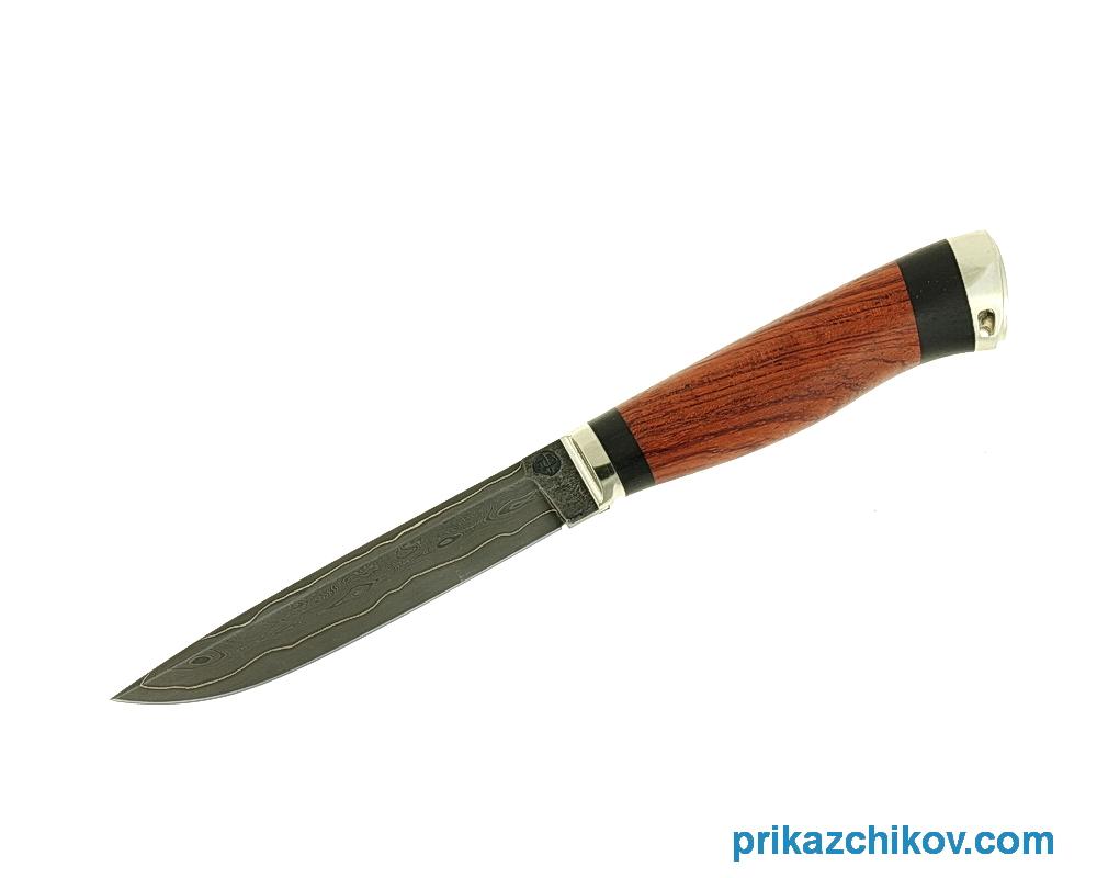 Нож из ламинированной стали Практичный (рукоять бубинга и черный граб, литье мельхиор) N66