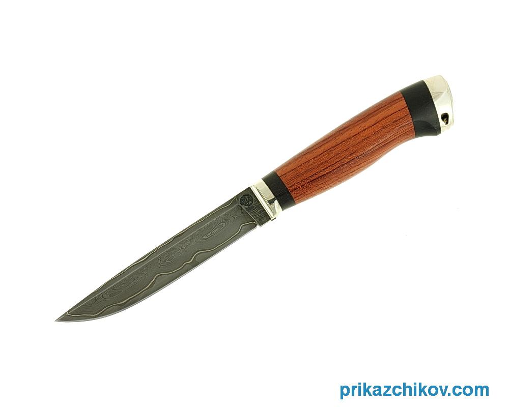 Нож из ламинированной стали Практичный (рукоять бубинга и черный граб, литье мельхиор) N67