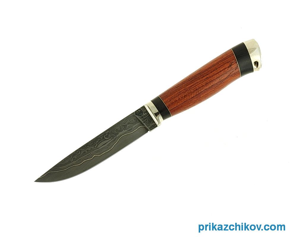 Нож из ламинированной стали Практичный (рукоять бубинга и черный граб, литье мельхиор) N71