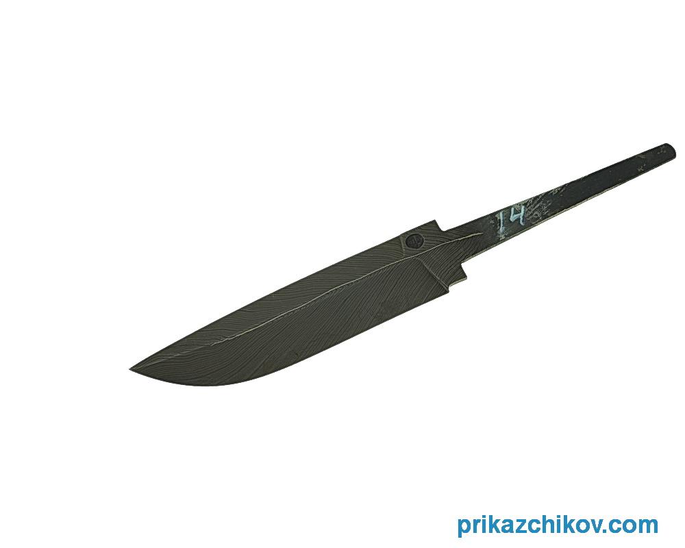 Клинок для ножа из мозаичного дамаска Перо N14