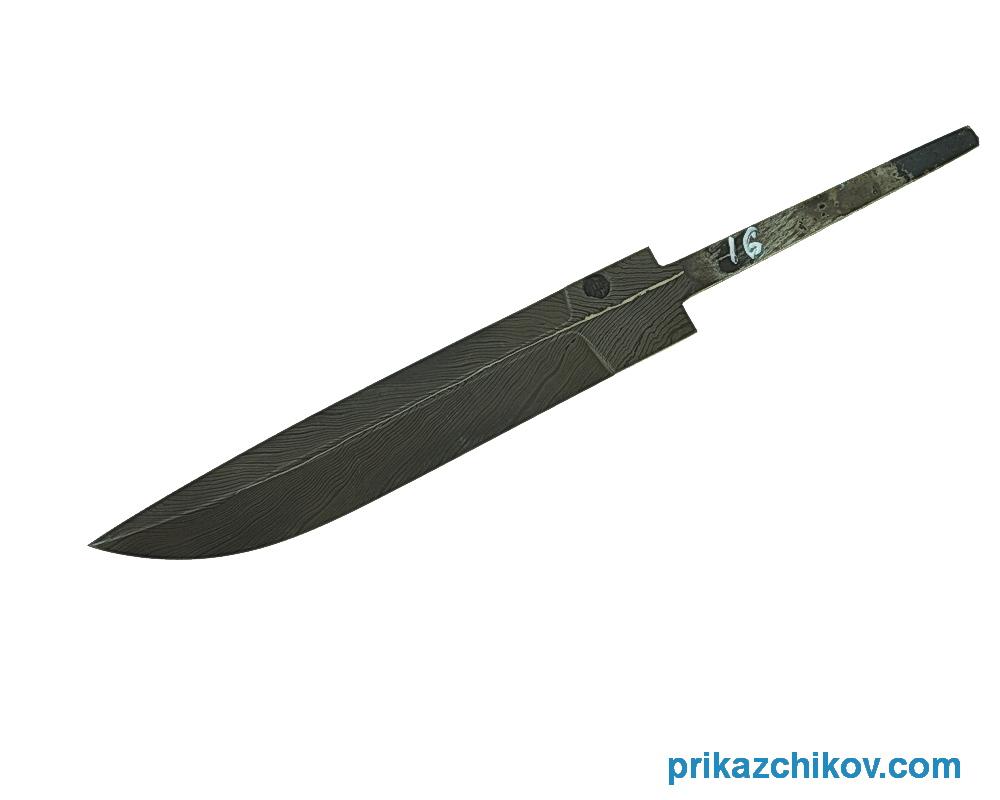 Клинок для ножа из мозаичного дамаска Перо N16