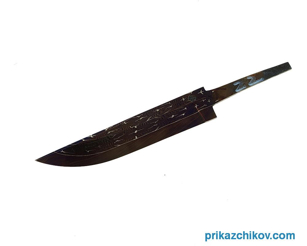 Клинок для ножа из мозаичного дамаска (mosaic damascus) N22