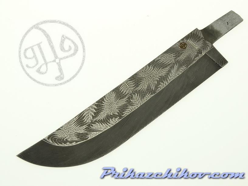 Клинок для ножа из мозаичного дамаска (mosaic damascus) M 26