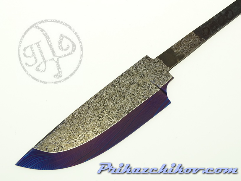 Клинок для ножа из мозаичного дамаска (mosaic damascus) M 27